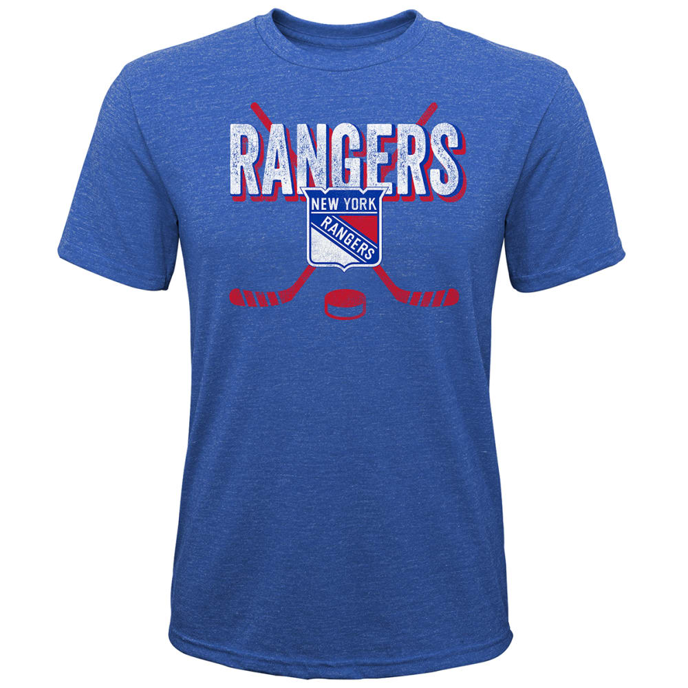 NEW YORK RANGERS Boys' Short-Sleeve Cross Over Hockey Sticks Tee L
