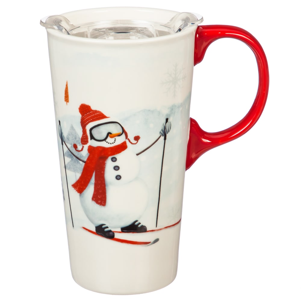 EVERGREEN ENTERPRISES Ceramic Snowman Skiing 17 oz. Travel Cup with Box NO SIZE