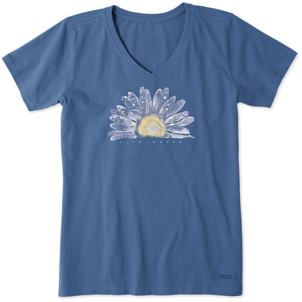 Life Is Good Women's V-Neck Watercolor Daisy Tee - Blue, S