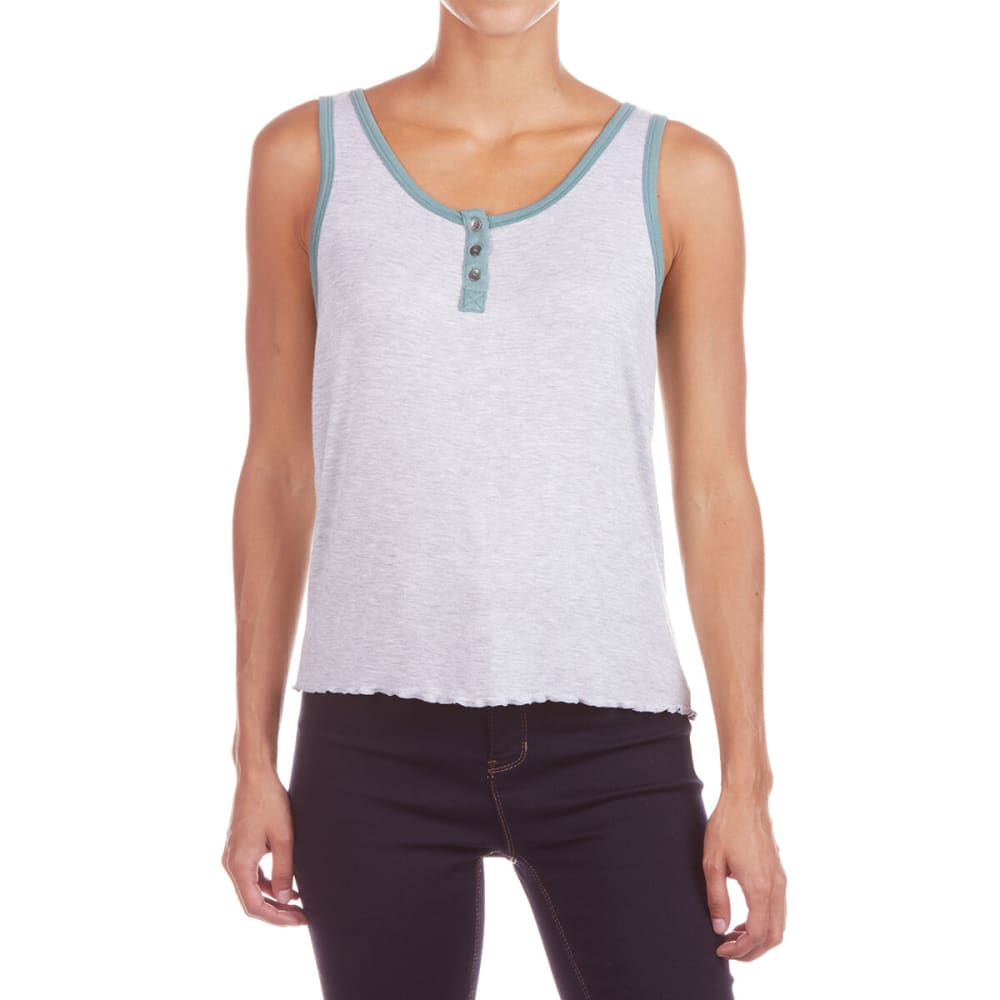 Pink Rose Juniors' Jersey Sleeves Purl Edges Tank Top - Black, S