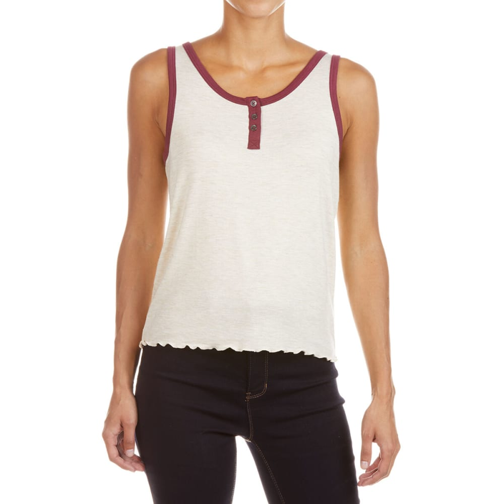 Pink Rose Juniors' Jersey Sleeves Purl Edges Tank Top - White, S