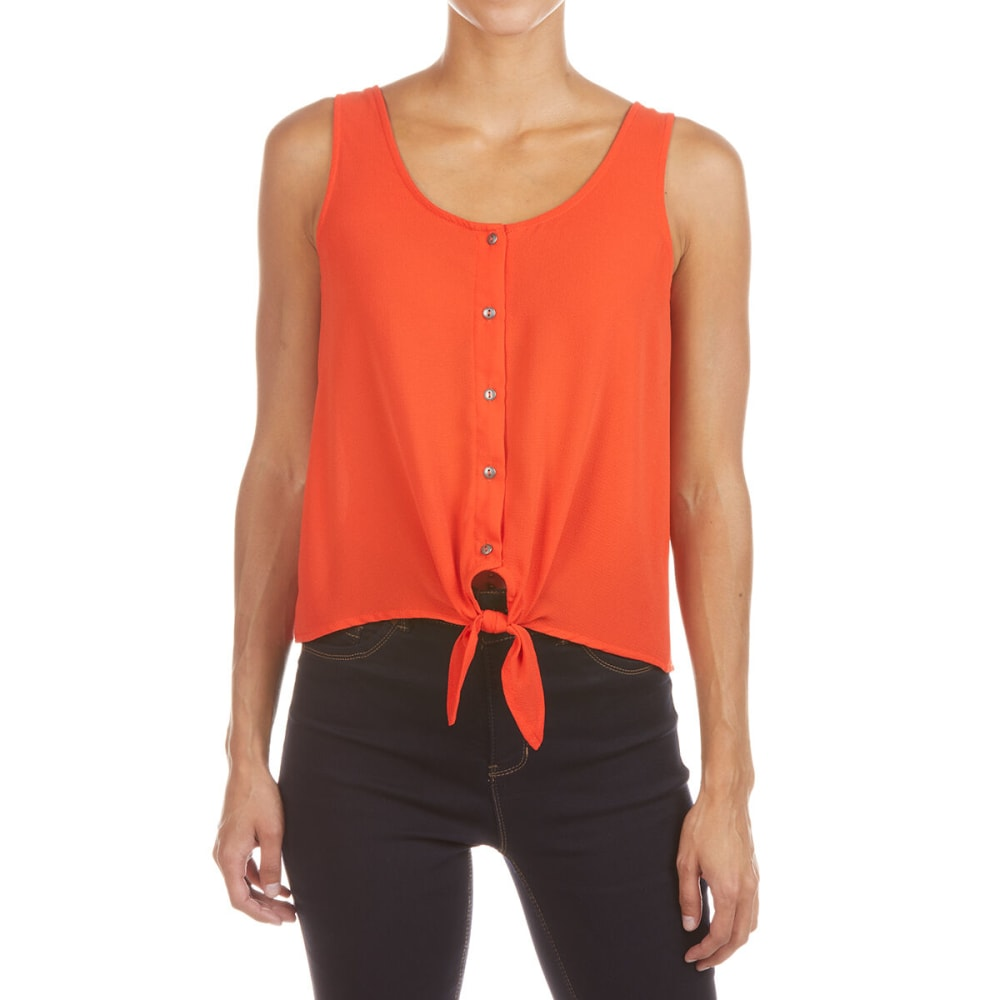 Pink Rose Juniors' Sleeveless Woven Shirt With Button Front And Buttom Tie - Orange, S