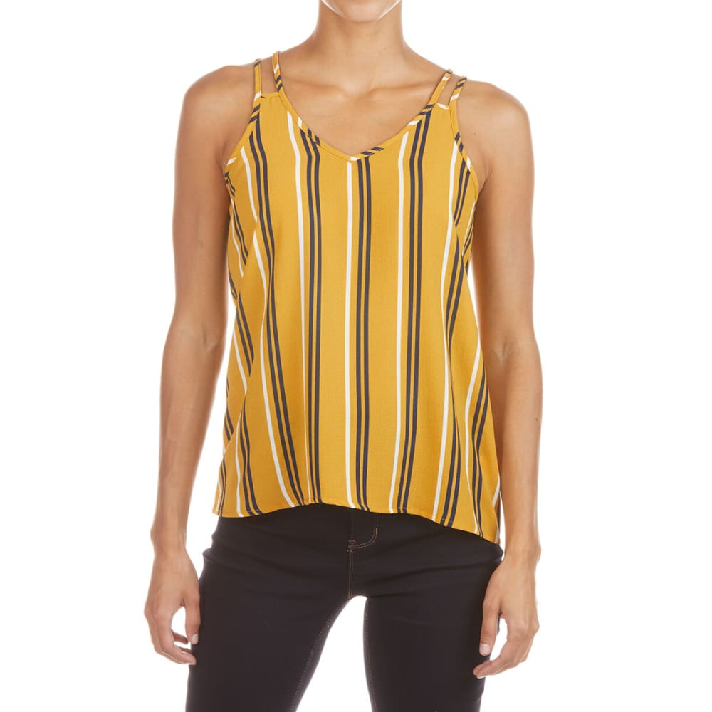 Pink Rose Juniors' Double Shoulder Strap Tank Top - Yellow, S