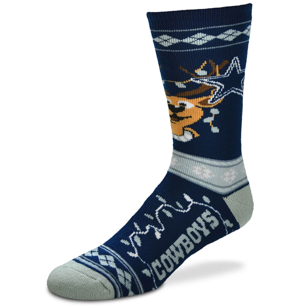 DALLAS COWBOYS Men's Sweater Stride Holiday Reindeer Socks M