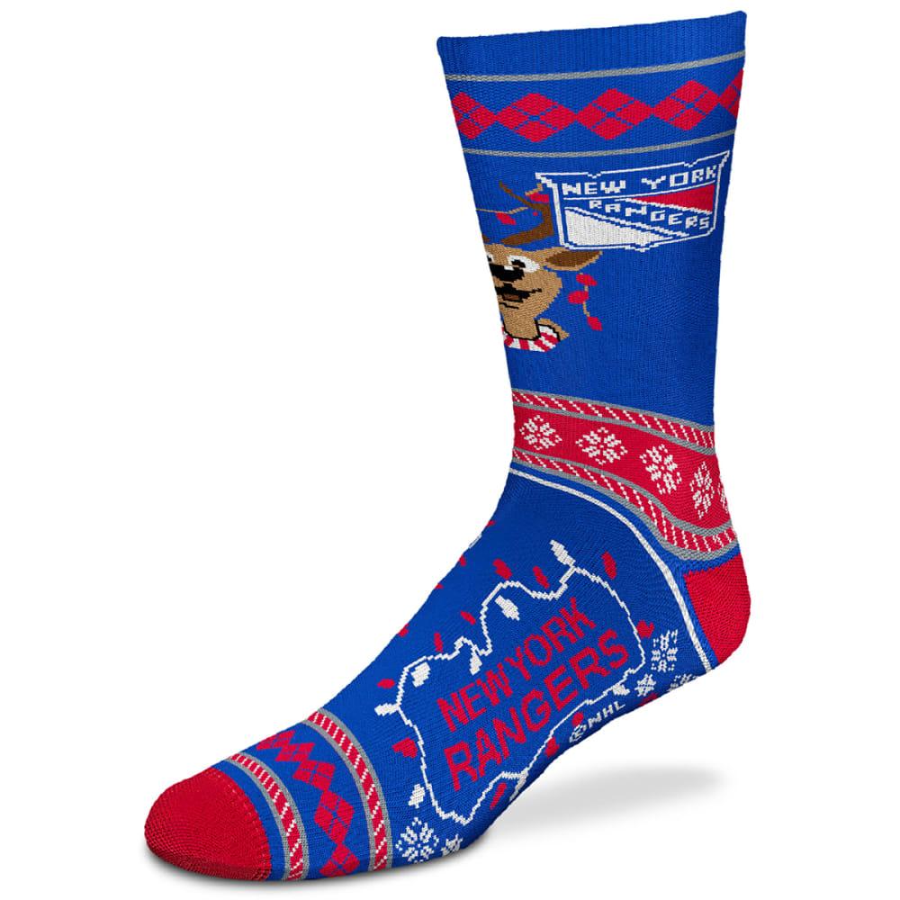 NEW YORK RANGERS Men's Sweater Stride Reindeer Socks L