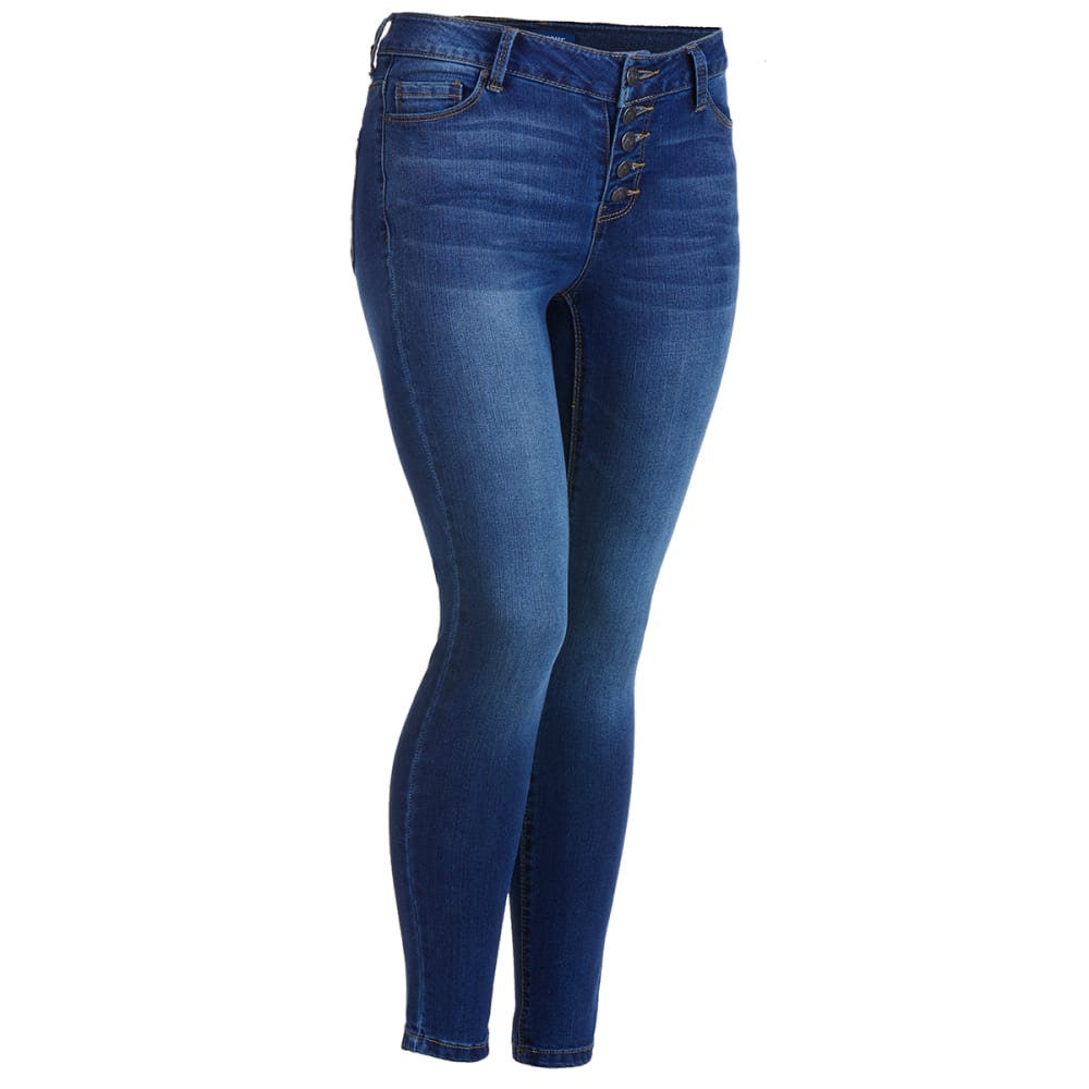BLUE SPICE Juniors' Exposed Button Front Skinny Jeans 1