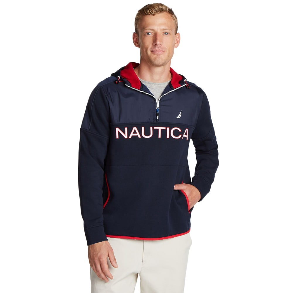 NAUTICA Men's 1/4-Zip Fleece Hoodie L
