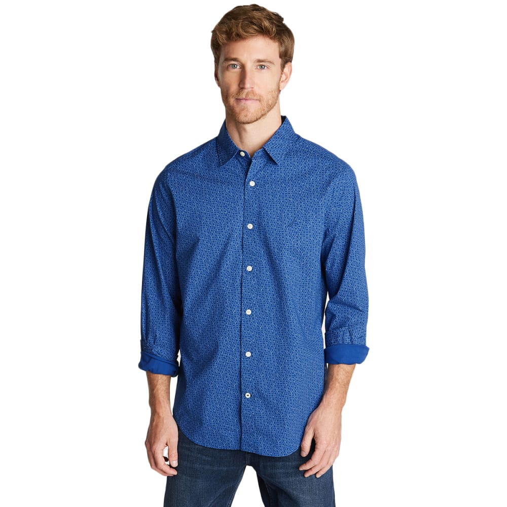 NAUTICA Men's Long-Sleeve Cotton Stretch Poplin Shirt M