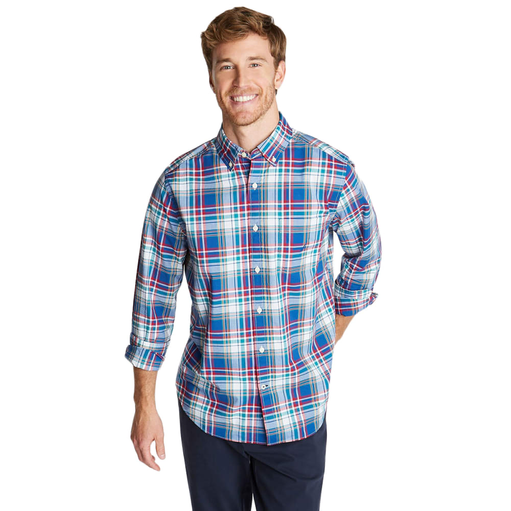 NAUTICA Men's Long-Sleeve Cotton Plaid Stretch Poplin Button Down M