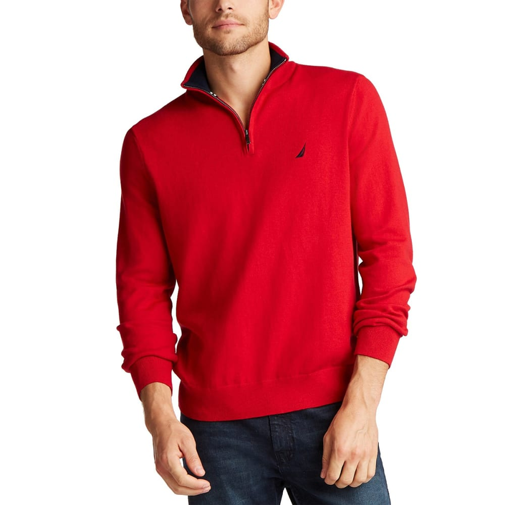 NAUTICA Men's Navtech Quarter Zip Mock Neck Sweater M