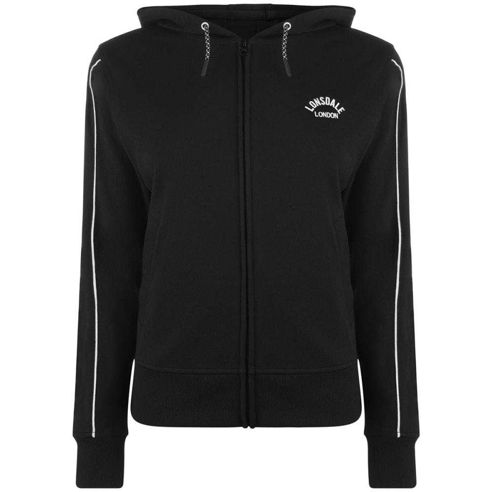Lonsdale Women's Long Line Zip Hoodie - Black, 10