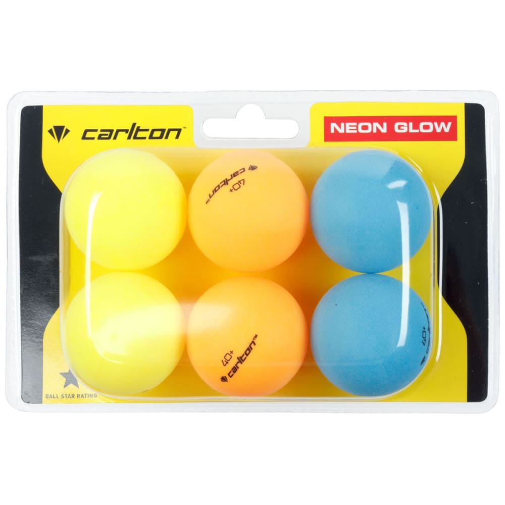 CARLTON Neon Glow Table Tennis Balls - 6 Pack ONESIZE