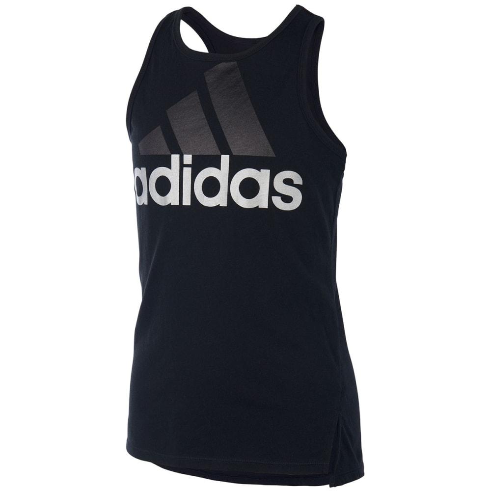 Adidas Girls' Shaped Hem Tank Top - Black, S