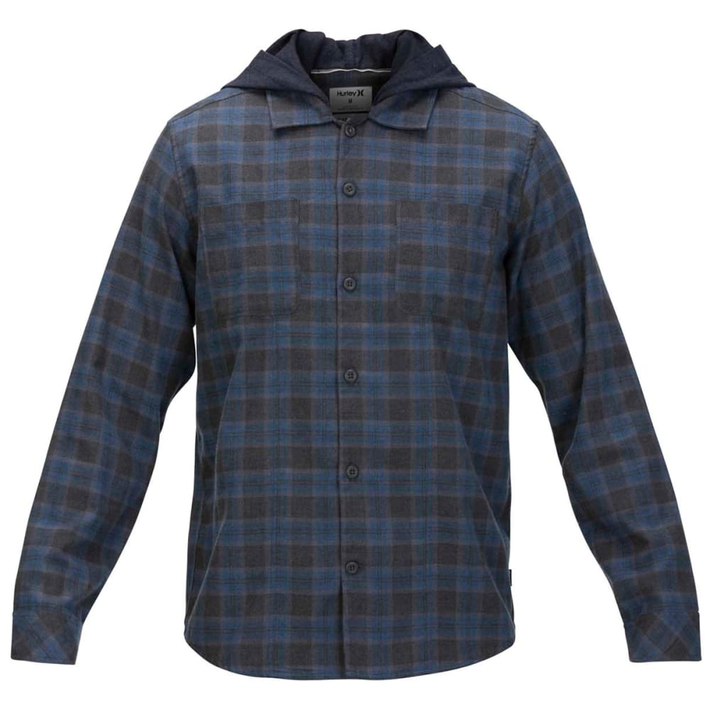 Hurley Men's Crowley Hooded Long-Sleeve Shirt - Blue, S