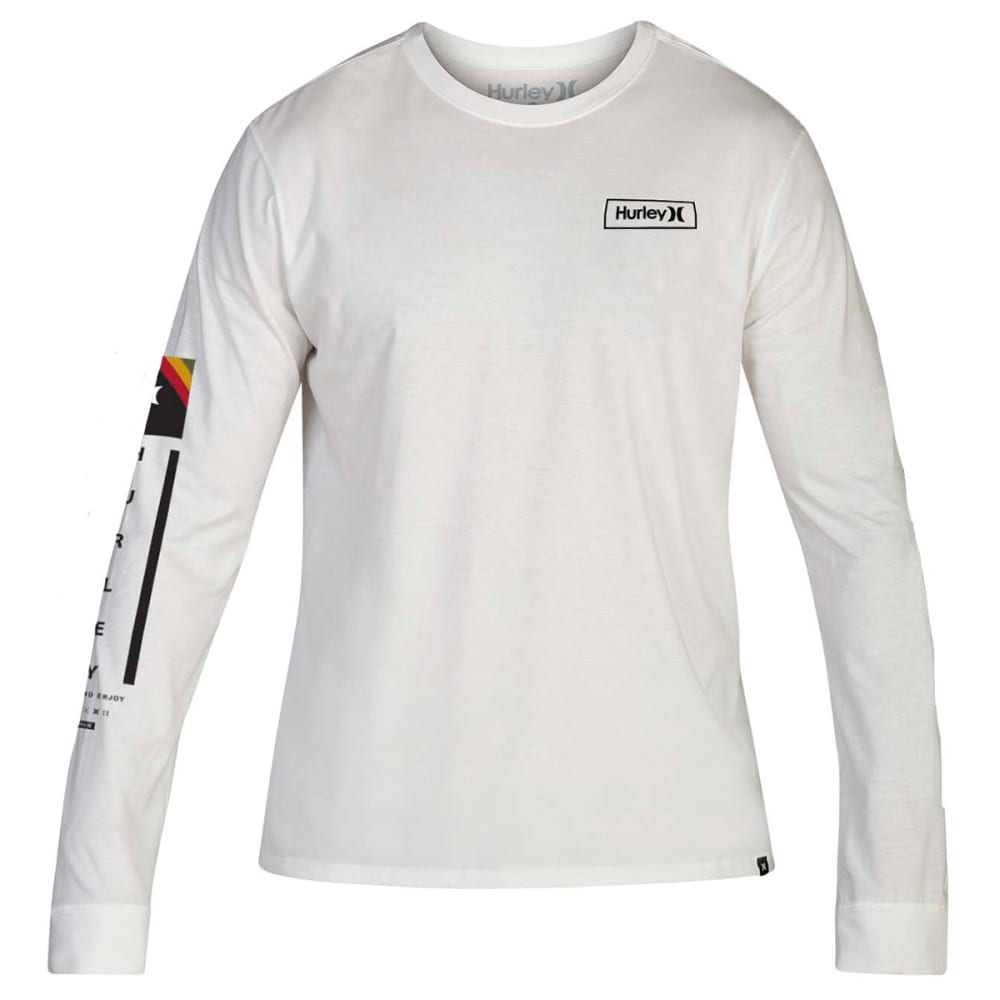 Hurley Men's Premium Fit Right Arm Long-Sleeve Tee - White, S