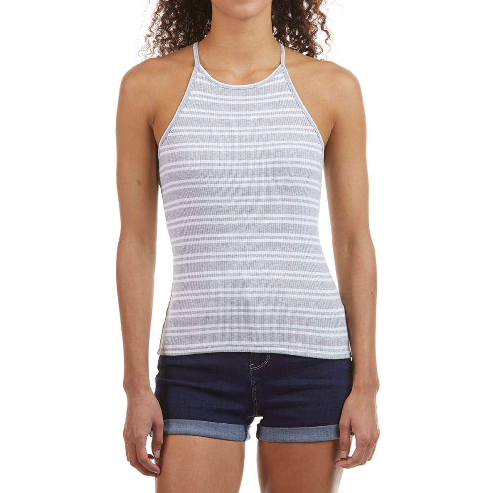 AMBIANCE Juniors' Yarn-Dyed High Neck 4X2 Ribbed  Racerback Tank Top S