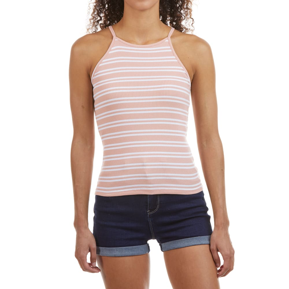 AMBIANCE Juniors' Yarn-Dyed High Neck 4X2 Ribbed  Racerback Tank Top L