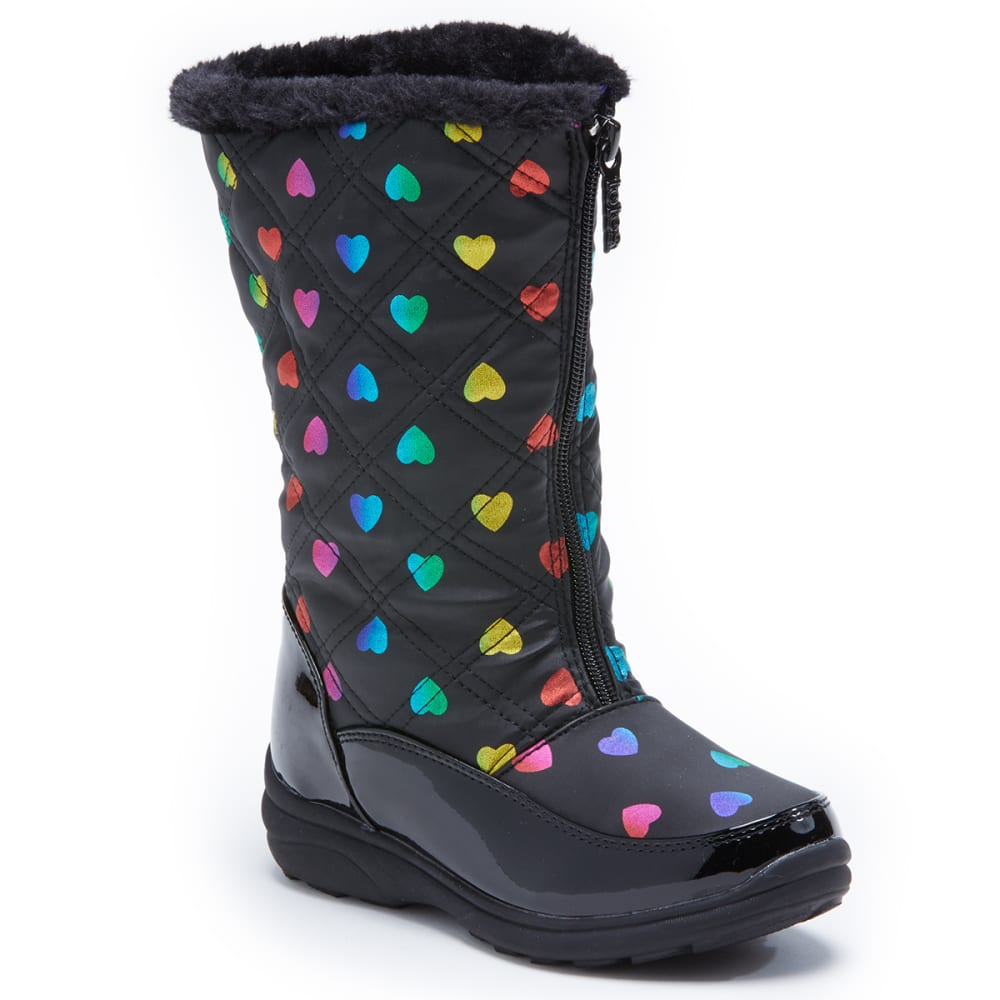 TOTES Little Girls' Rainbow with Hearts Waterproof Insulated Storm Boots 1