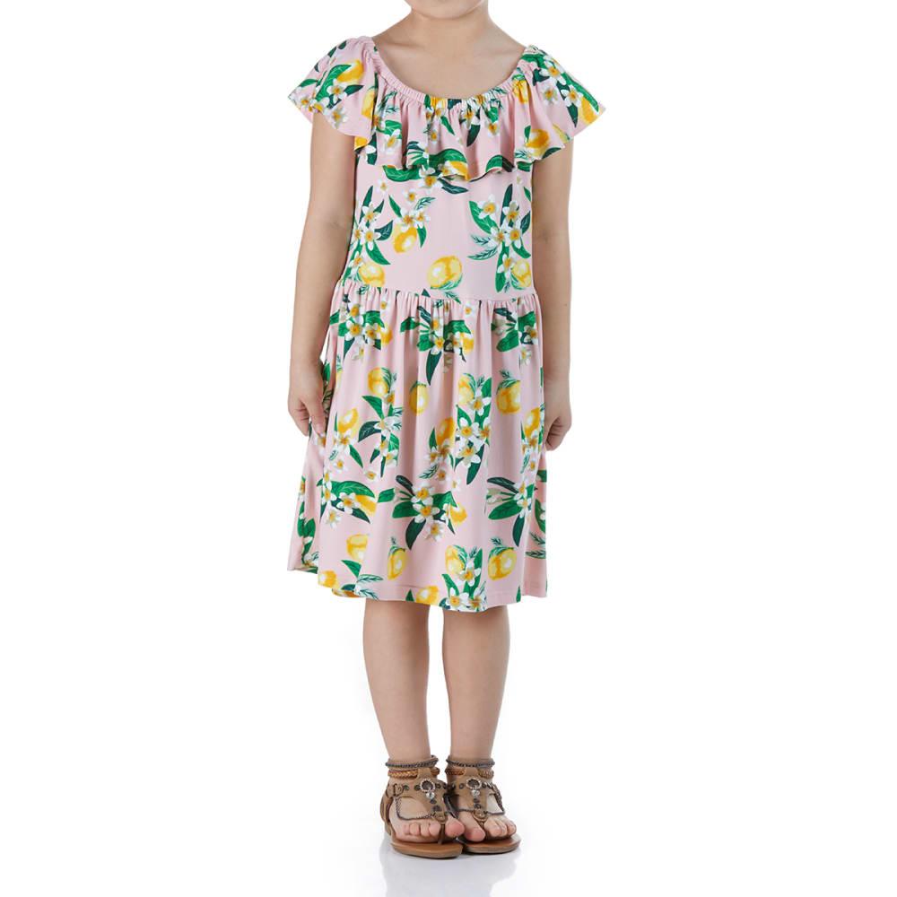 POOF Girls' Floral Print Ruffle Neck Dress - BLUSH PINK COMBO