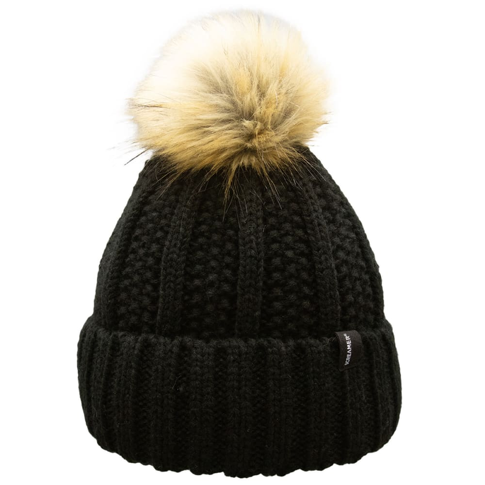 SCREAMER Women's Jen Chunky Roll Up Knit Hat with Pom ONE SIZE