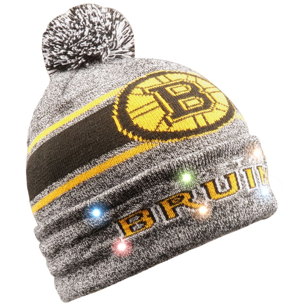 BOSTON BRUINS Men's Stripe Beanie with Pom ONE SIZE