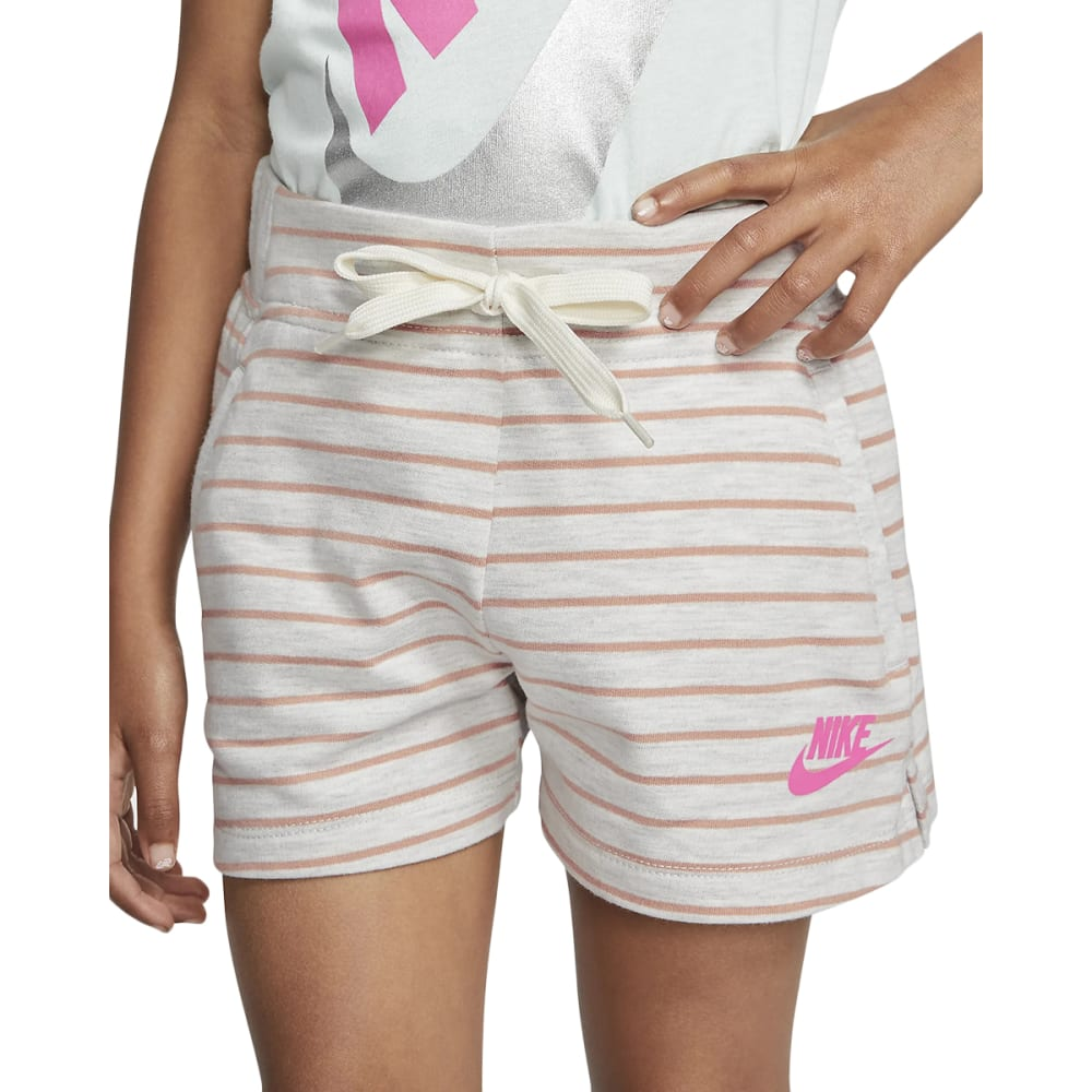 Nike Girls' Striped Sportswear Shorts - White, 6