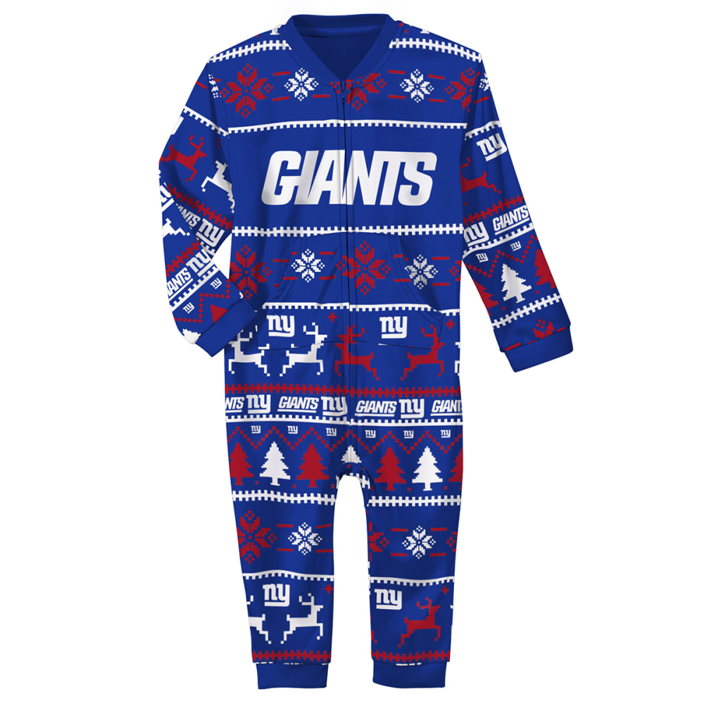 NEW YORK GIANTS Infant NFL One Piece Holiday Pajamas 18M