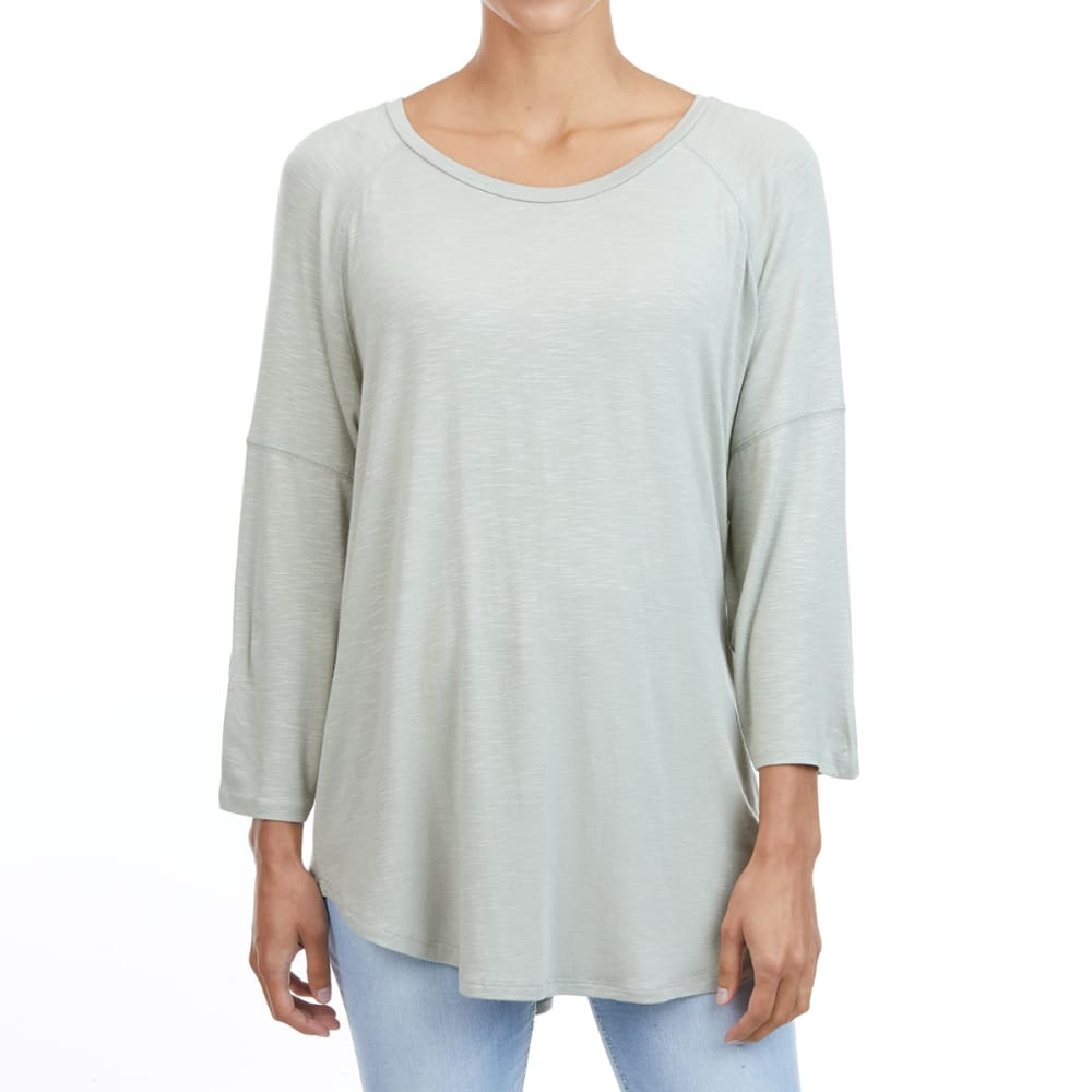 FEMME Women's Round Neck 3/4-Sleeve Top L