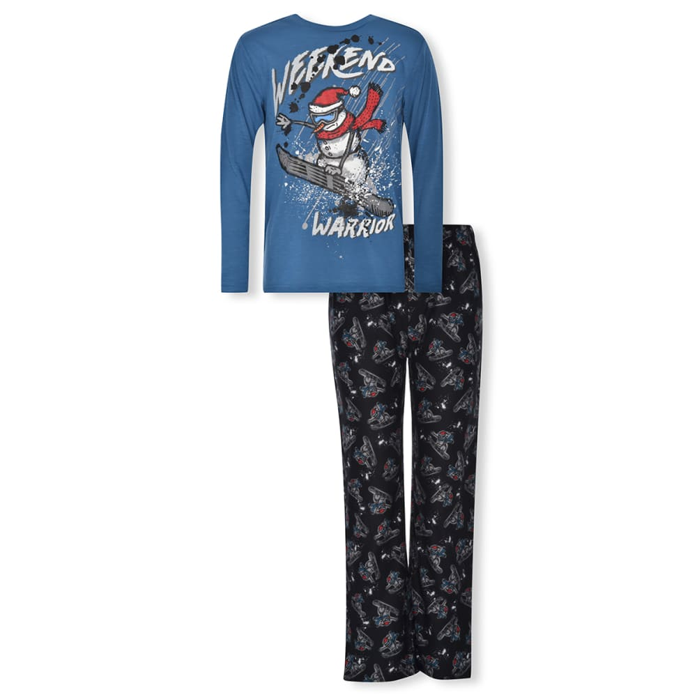 CLOUD NINE Boy's 2 Piece Weekend Warrior Snowman Pajama Set 8-10X