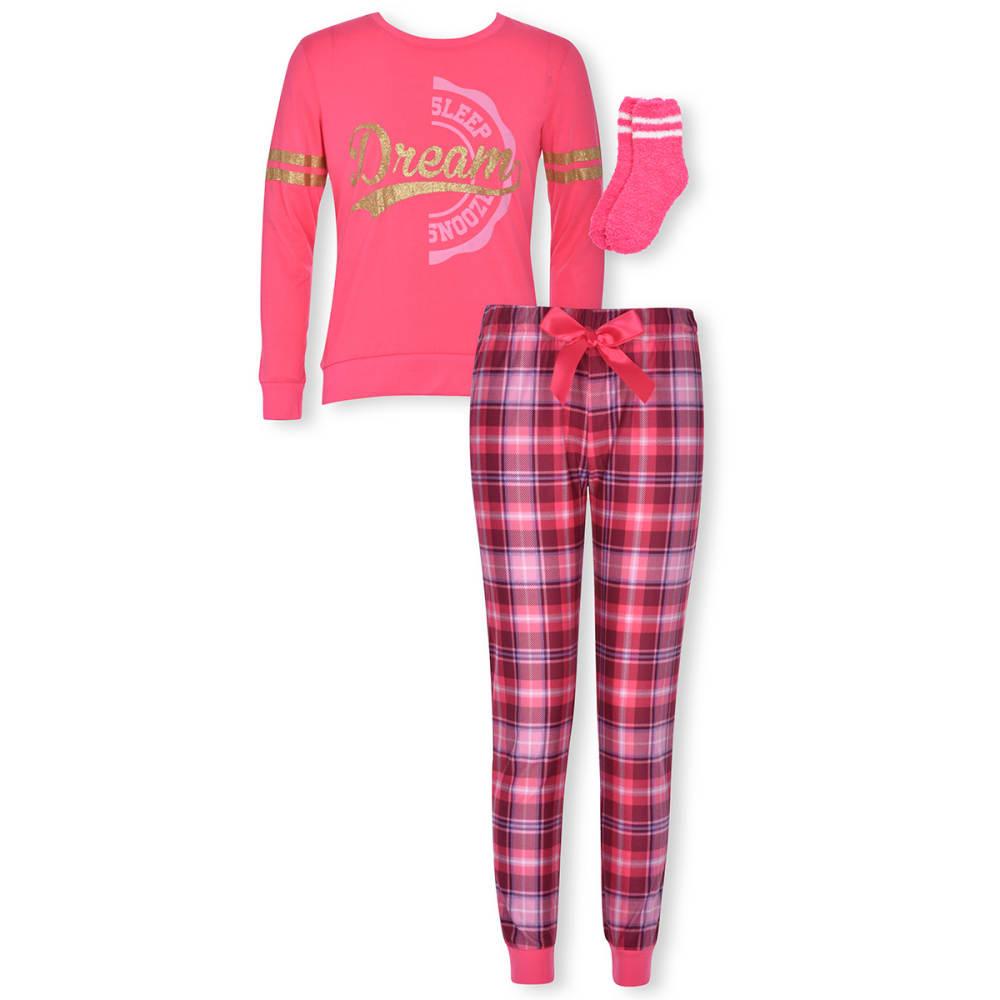 CLOUD NINE Girls' 3 Piece Pajama Set with Socks 10-12