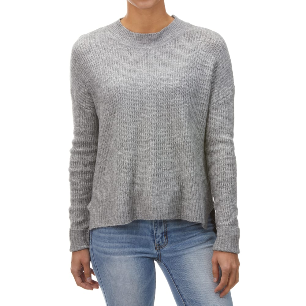 AMBIANCE Juniors' Hi-Low Cropped Mockneck Sweater S