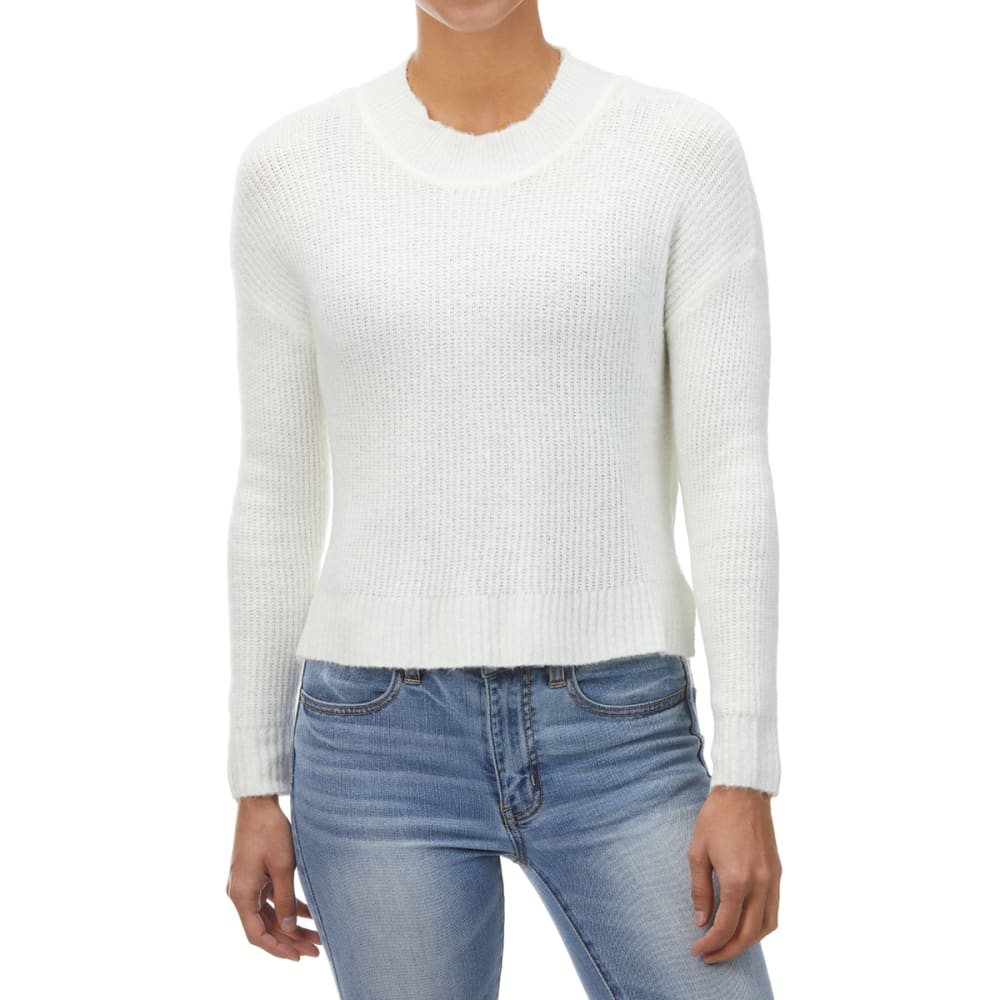 AMBIANCE Juniors' Hi-Low Cropped Mockneck Sweater L