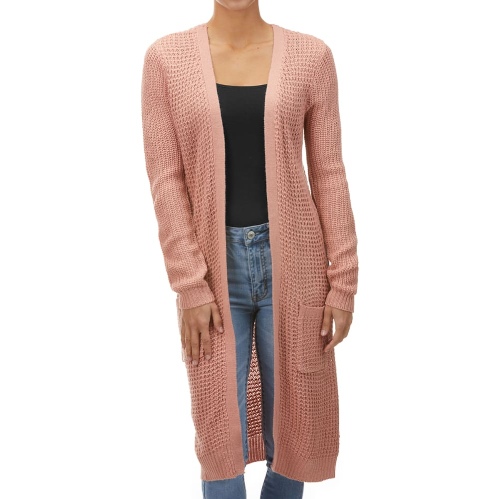AMBIANCE Juniors' Long-Sleeve Waffle Knit Open Front Cardigan S