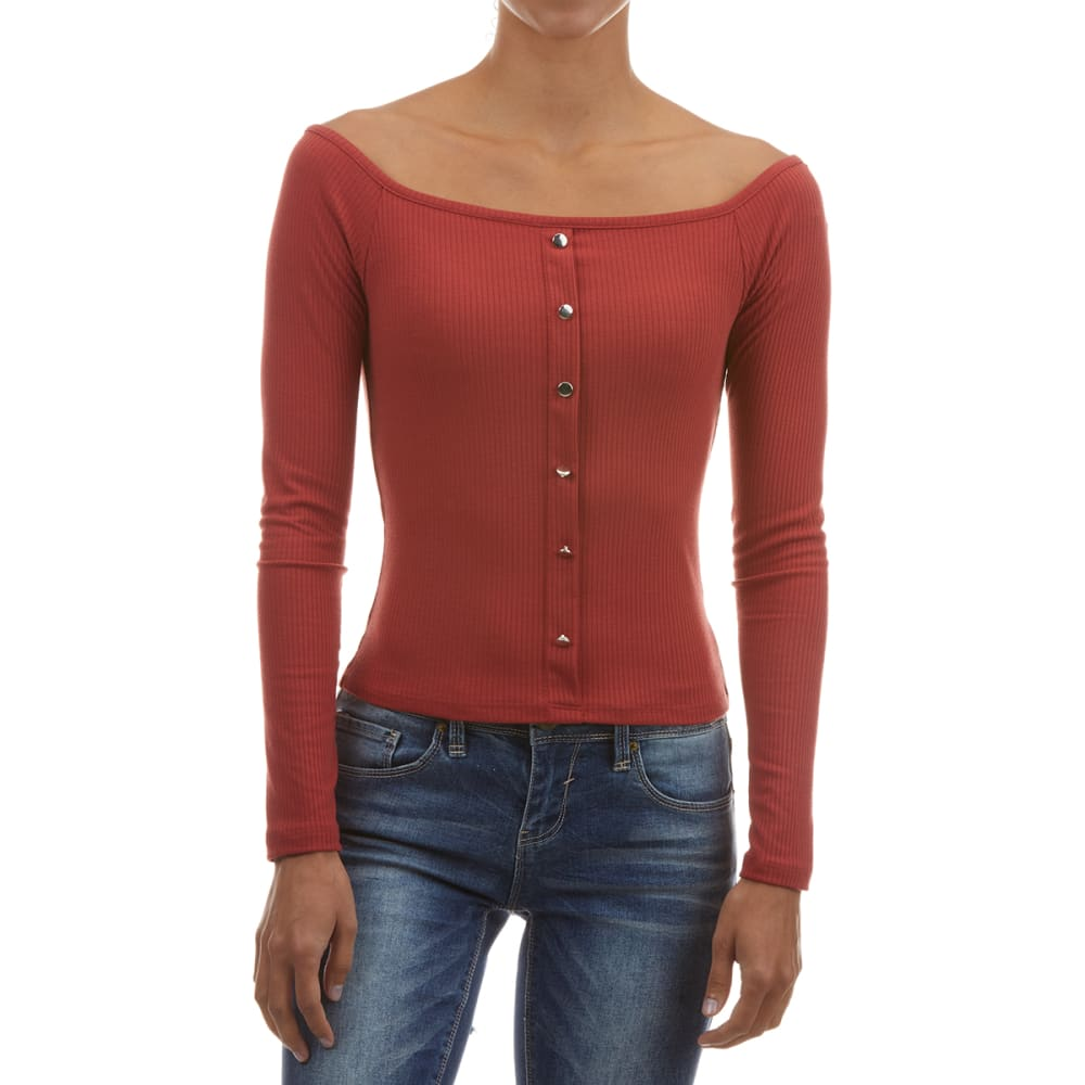 AMBIANCE Juniors' Ribbed Off the Shoulder Long-Sleeve Top S