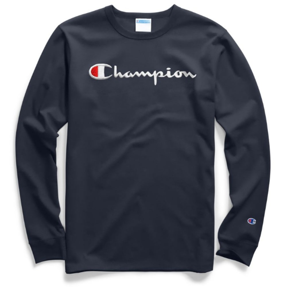 CHAMPION Men's Classic Script Logo Graphic Long-Sleeve Tee XL