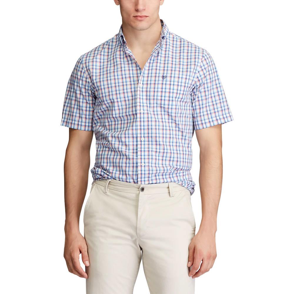 CHAPS Men's Short-Sleeve Woven Checked Poplin Shirt M