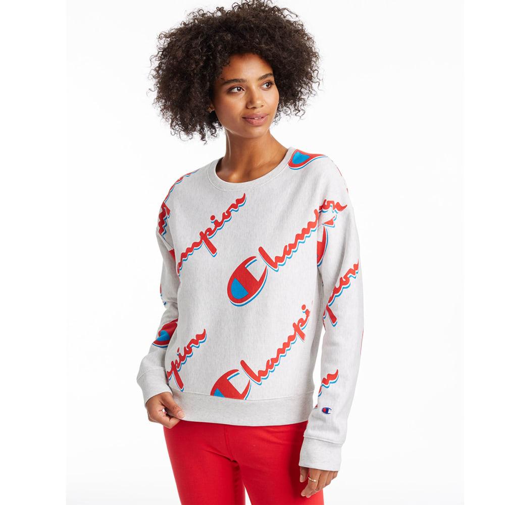 CHAMPION Women's Reverse Weave All Over Print Logo Sweatshirt M