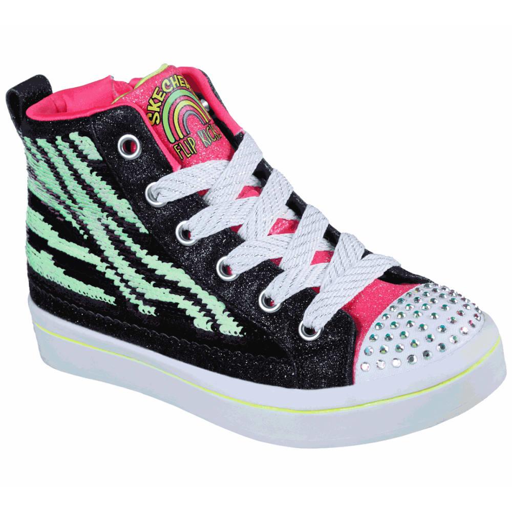 SKECHERS Girls' Twi-Lites 2.0 Reversible Sequin Zebra Hi Top Sneakers 1