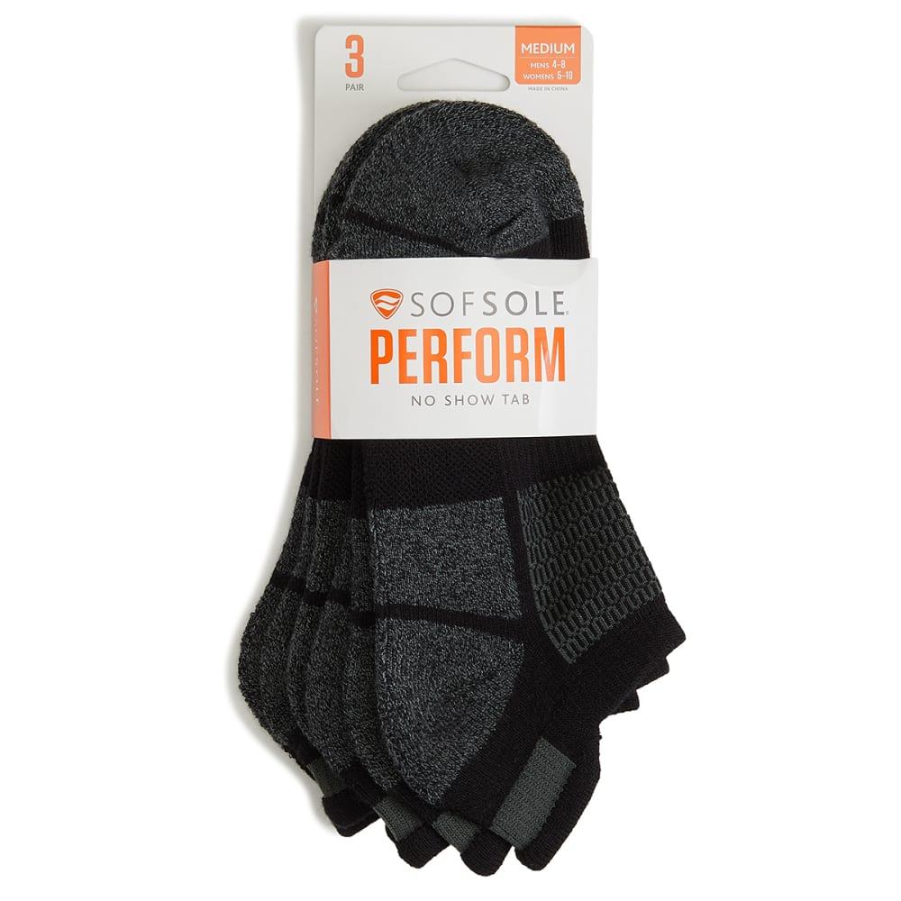 SOF SOLE Women's Black Marl No Show Tab Socks, 3-Pack M
