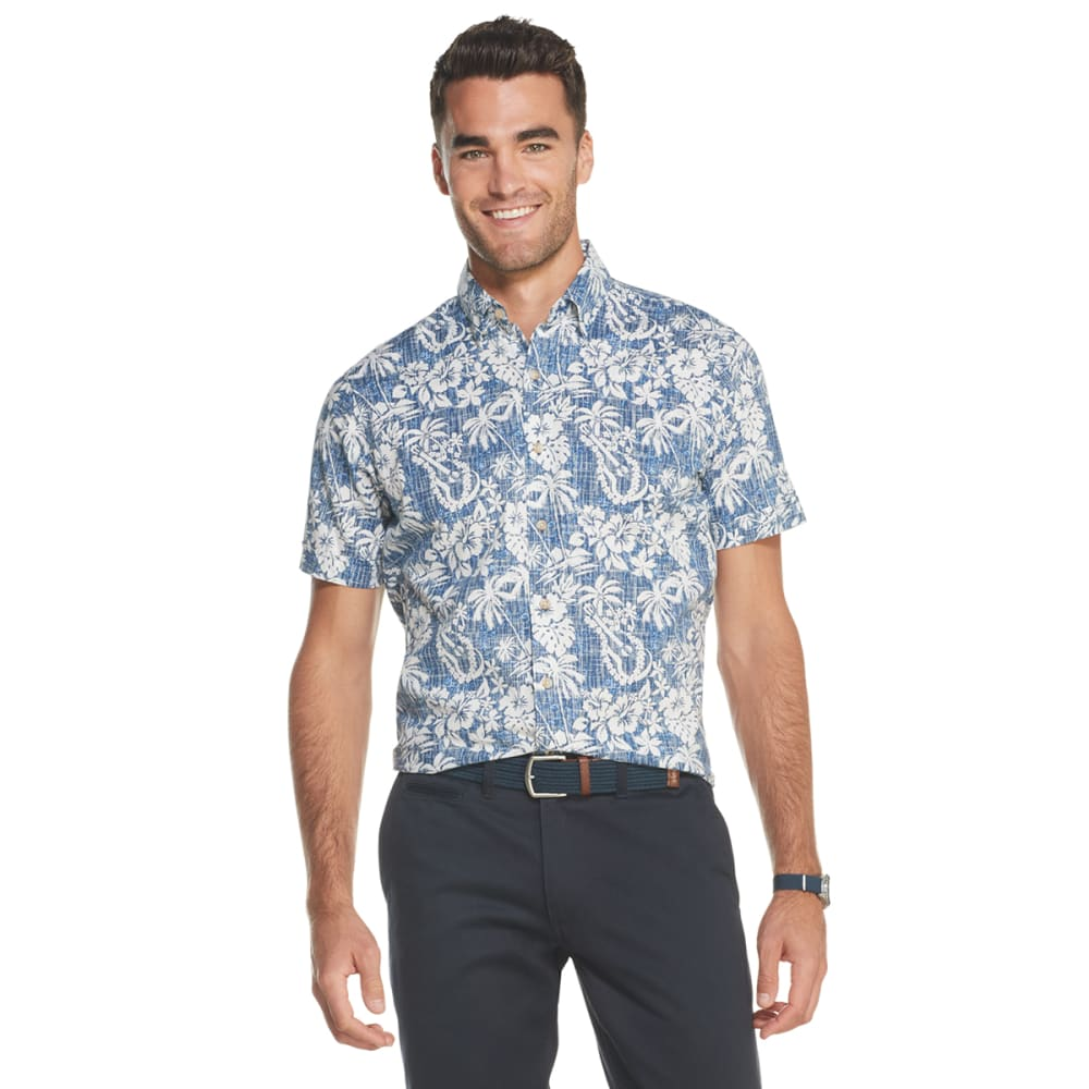 IZOD Men's Dockside Chambray Short-Sleeve Button-Front Shirt M