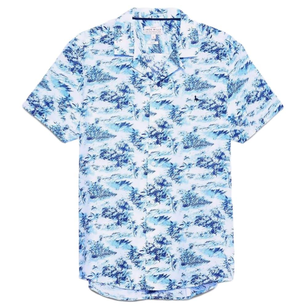 JACK WILLS Men's Short-Sleeve Elwick Palm Print Shirt XS