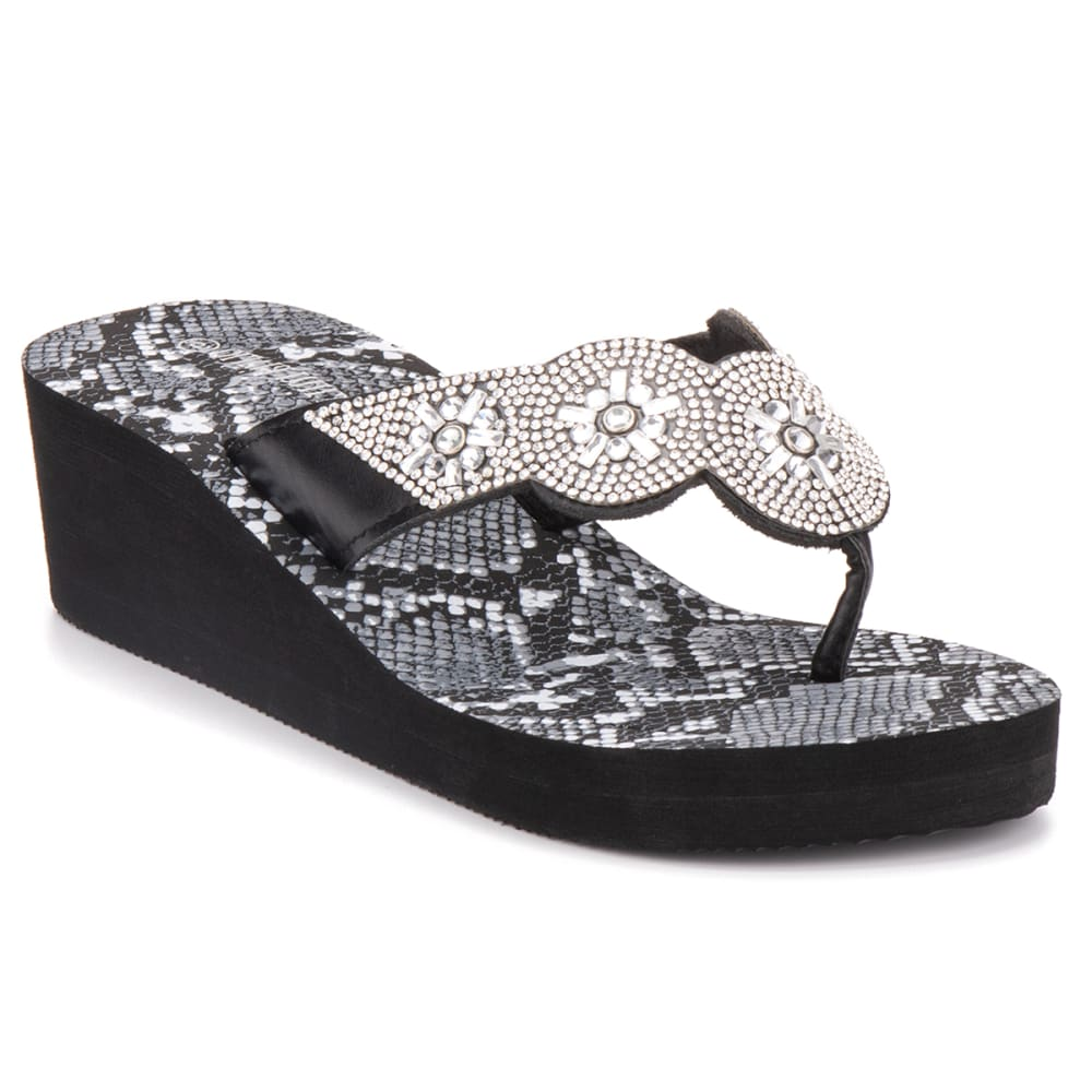 OLIVIA MILLER Women's Circle Snake Wedge Sandals 6