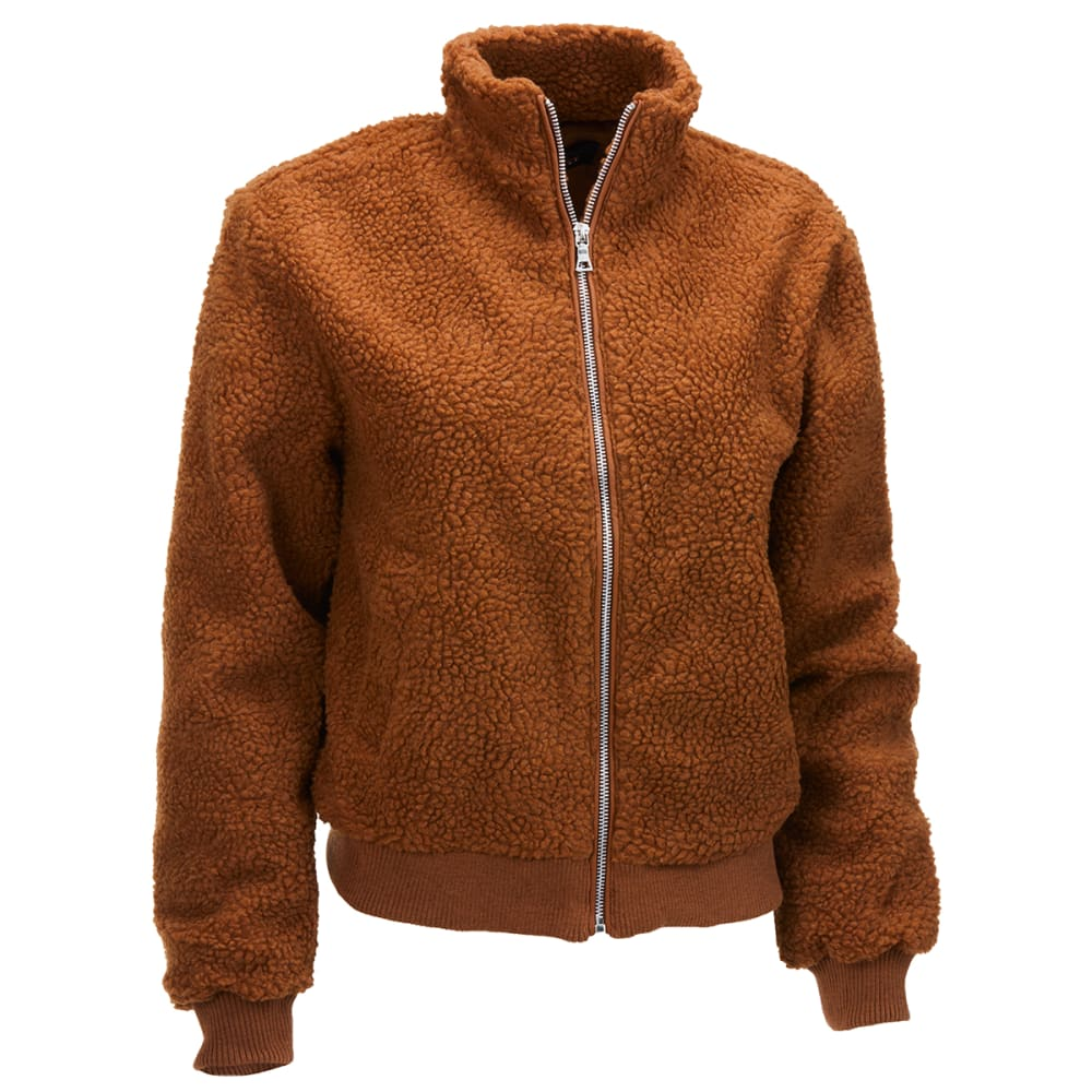 AMBIANCE Juniors' Sherpa Bomber Zip Front Jacket S