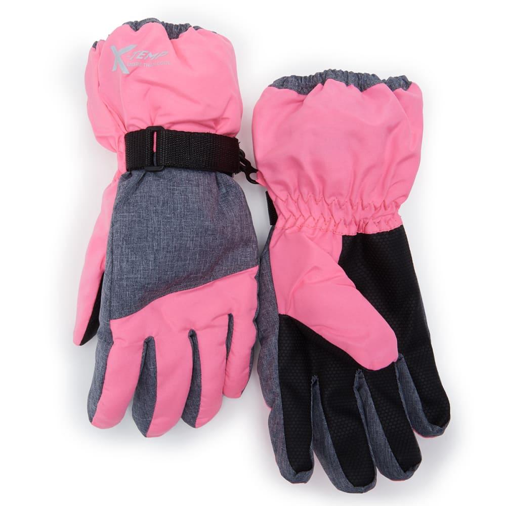 HANES Girls' Snow Cuff Ski Gloves L/XL