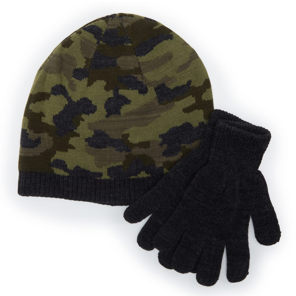 HANES Boys' Thermal Knit Reversible Beanie/Gloves Set ONE SIZE
