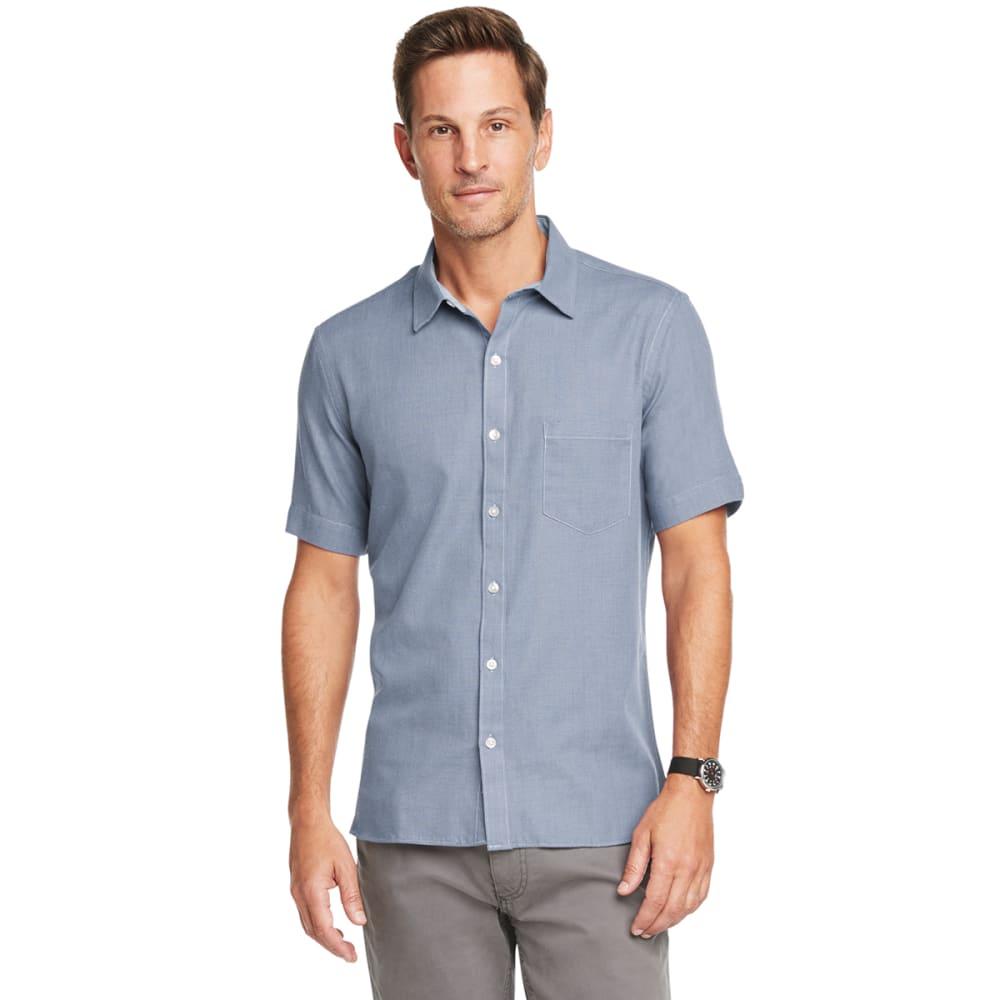 VAN HEUSEN Men's Never Tuck Slim Fit Short-Sleeve Button-Down L