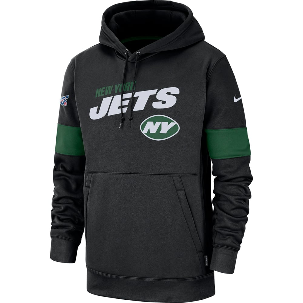 NEW YORK JETS Men's Nike Sideline Team Logo Performance Pullover Hoodie L