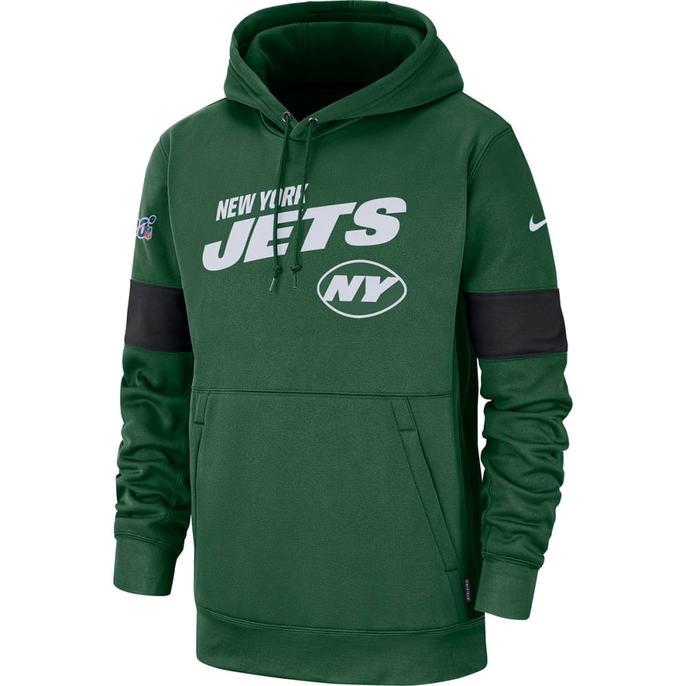 NEW YORK JETS Men's Nike Sideline Team Logo Performance Pullover Hoodie L