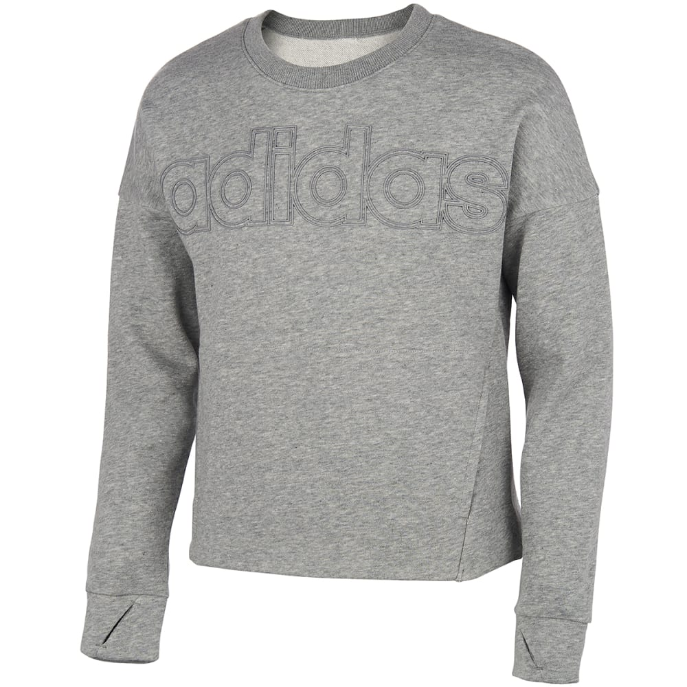 ADIDAS Girls' Linear Logo Crew Neck Sweatshirt S