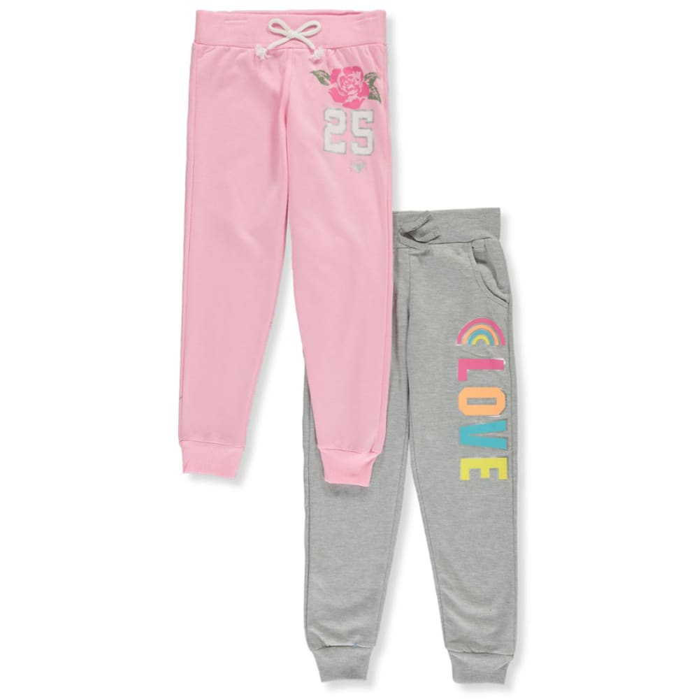 ONE STEP UP Girls' 7-16 Fleece Joggers, 2 Pairs 10-12